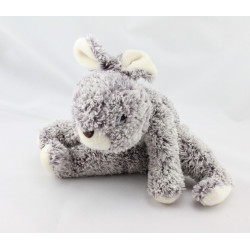 Doudou lapin gris couché NOUNOURS