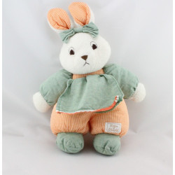 Doudou lapin blanc vert vichy orange TARTINE ET CHOCOLAT