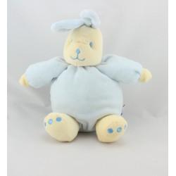 Doudou lapin boule bleu jaune SUCRE D'ORGE