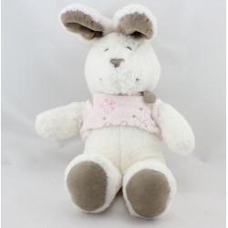 Doudou lapin blanc gris beige pull rose papillon NICOTOY