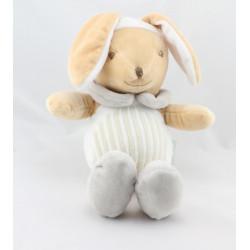 Doudou lapin blanc gris MES PETITS CAILLOUX CMP
