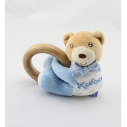 Mini Doudou Ours bleu poissons avec hochet Kaloo