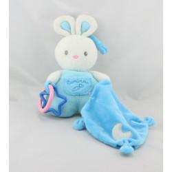 Doudou lapin blanc bleu mouchoir luminou JEMINI