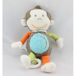 Doudou musical singe marron bleu Little Monkey BABYSUN