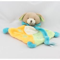 Doudou plat chien vert jaune bleu super tétine BABY NAT
