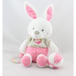 Doudou lapin blanc rose beige pois oiseau hochet balle MOTS D'ENFANTS