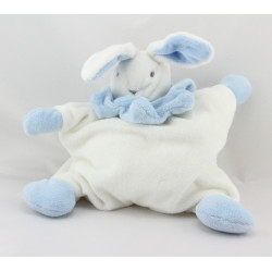 Doudou semi plat lapin blanc bleu