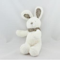 Doudou lapin blanc bandanas gris beige NICOTOY 20 cm