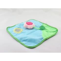 Doudou plat carré bleu vert soleil fleur