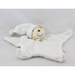 Doudou plat étoile ours blanc bonnet KALOO