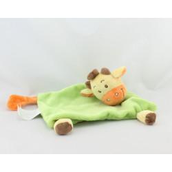 Doudou plat vache girafe vert jaune orange KIMBALOO