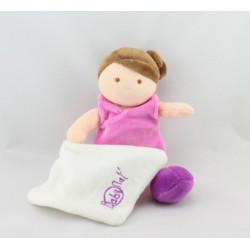 Doudou poupée fille rose mouchoir BABY NAT