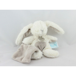 Doudou Lapin blanc mouchoir beige Baby nat