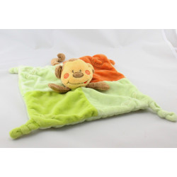 Doudou plat singe marron vert orange KIMBALOO
