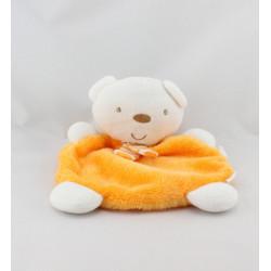 Doudou plat ours blanc orange BABYDREAM