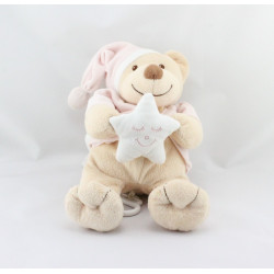 Doudou musical ours beige rose étoile BOUTCHOU
