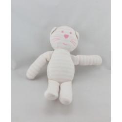 Doudou chat blanc rayé rose BOUT'CHOU BOUTCHOUOU