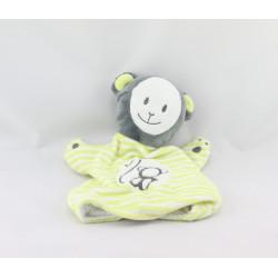 Doudou marionnette singe gris vert OBAIBI