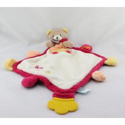 Doudou eveil plat ours rouge blanc jaune orange Super Doudou BABY NAT