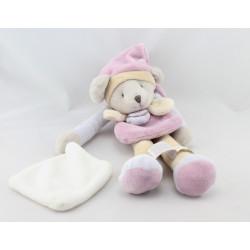 Doudou et compagnie pantin souris grise rose bleu beige mouchoir