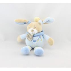 Doudou attache tétine musical lapin bleu jaune BABY NAT
