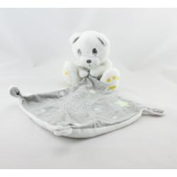 Doudou ours blanc mouchoir gris étoiles KIABI SIMBA TOYSanc mouchoir bleu KIABI SIMBA TOYS