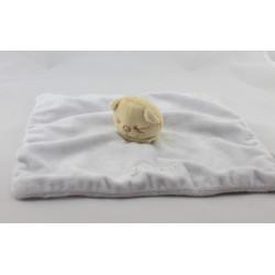 Doudou plat chat Patou bleu foulard jaune BENGY