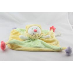 Doudou plat lutin clown vert jaune étoile KIABI