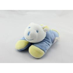 Doudou ours bleu jaune couché NOUKIE'S