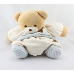 Doudou ours boule patapouf ecru maillot rayé bleu TAKINOU