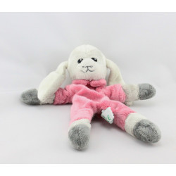 Doudou plat mouton gris rose ANIMA