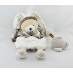 Doudou et compagnie marionnette ours blanc beige marron Graines de doudou