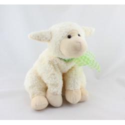 Doudou mouton blanc noeud vert FAO BABY