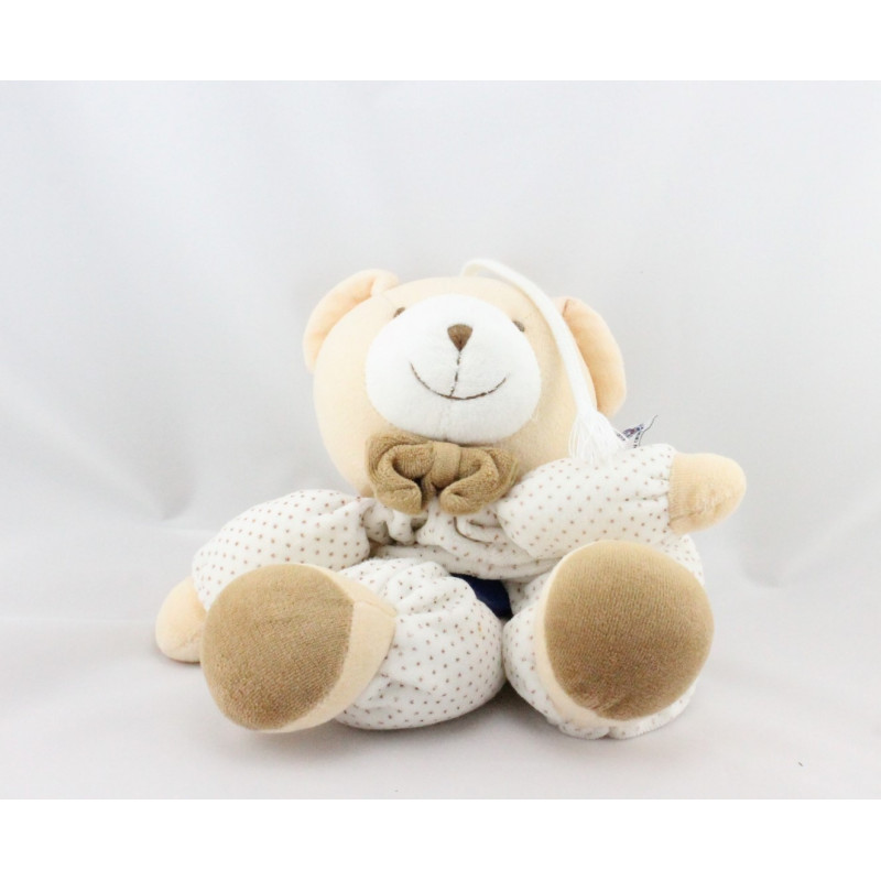Doudou musical ours blanc beige marron pois MGM