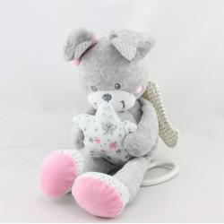 Doudou  lapin gris rose ange étoiles NICOTOY