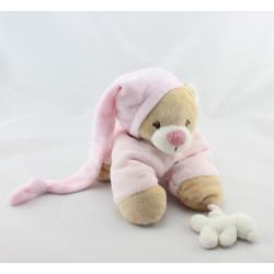 Doudou ours beige rose couché NATTOU