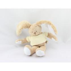 Doudou lapin beige pull jaune Gaspard NOUKIE'S