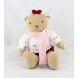 Doudou ours bordeaux blanc rose coeurs STOLLE