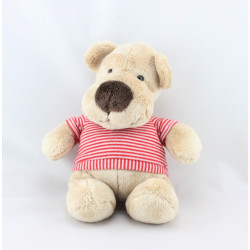Doudou ours Beige pull rayé rouge NICOTOY