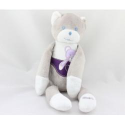 Doudou ours gris blanc violet Musti de Mustela