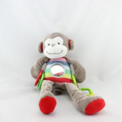 Doudou singe gris bleu vert jaune rouge hochet NICOTOY