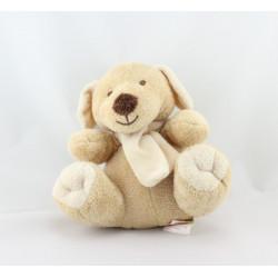 Doudou chien beige écharpe écru BENGY
