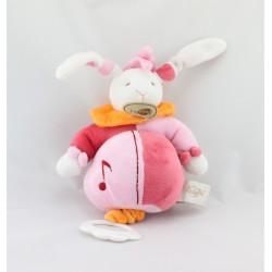 Doudou musical lapin rose orange blanc BABY NAT