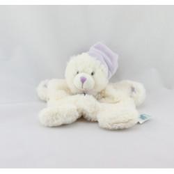 Doudou plat ours blanc mauve BABY NAT