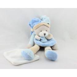 Doudou et compagnie pantin ours bleu gris beige mouchoir