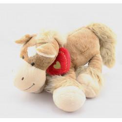 Doudou cheval marron coeur rouge NICOTOY