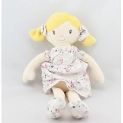 Doudou poupée fille blonde robe blanche fleurs pois OBAIBI