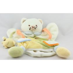 Doudou et compagnie plat marionnette chat blanc vert jaune orange souris