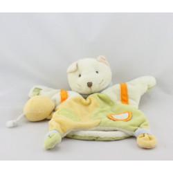 Doudou et compagnie plat marionnette chat blanc vert jaune orange avec souris