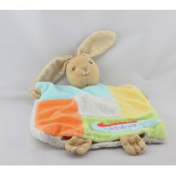 Doudou plat lapin bleu blanc orange jaune vert crocodile KALOO